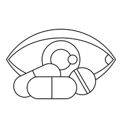 Eye and pills icon outline style vector
