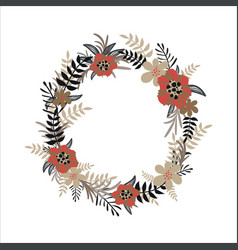 flower wreath isolated on white background vector image vector image