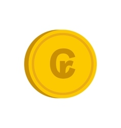 Gold coin with cruzeiro sign icon flat style vector