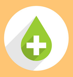 Green drop icon first aid sign circle shape vector