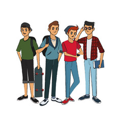 Group of handsome cool young men icon image vector