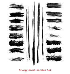 Grungy brush strokes set vector
