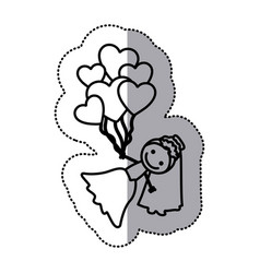 Hand drawn sticker silhouette with bride and vector