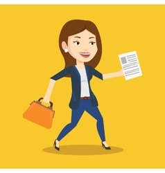 Happy business woman running vector
