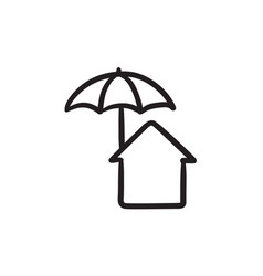 House under umbrella sketch icon vector