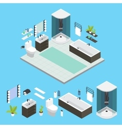 Isometric Bathroom Interior Composition vector image vector image
