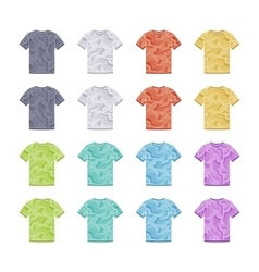 Male colored short sleeve t-shirts with the vector