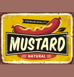 mustard promotional retro label design vector image vector image