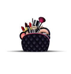 set of cosmetics with black bag on isolated vector image vector image