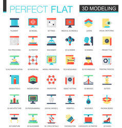 set of flat 3d printing and modeling icons vector image vector image