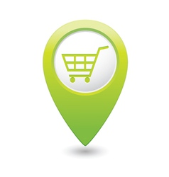 shop basket icon green pointer vector image