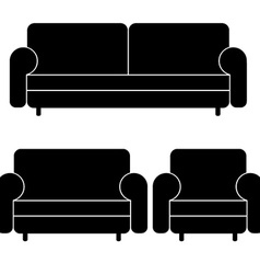 Sofas and armchair vector
