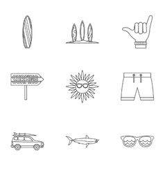 Swimming on surf icons set outline style vector