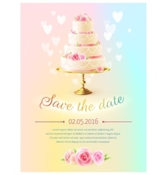 Wedding card invitation with cake realistic vector