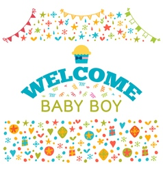 Welcome baby boy baby boy shower card baby shower vector