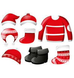 winter clothes in red vector image