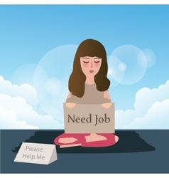 Woman need job asking for help write in cardboard vector
