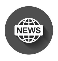 World news flat icon news symbol logo on black vector