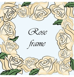 Yellow rose flower frame vector