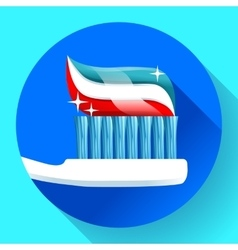 Toothbrush with toothpaste icon flat style vector