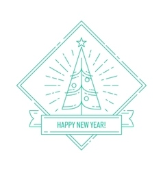 Linear badge with Christmas tree vector image