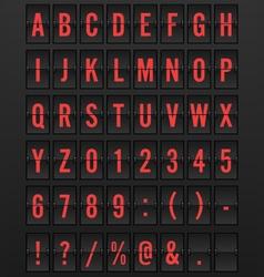 Airport mechanical flip board panel font vector