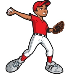 Ethnic baseball pitcher vector