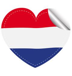 netherlands flag in heart shape vector image
