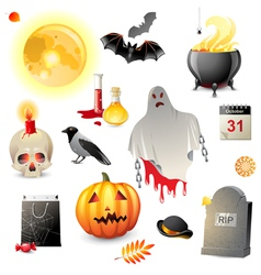 Great halloween icons set vector