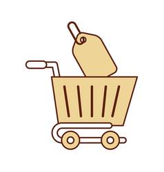 Shopping cart with percent tag vector