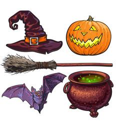Witch halloween accessories - hat caldron jack vector