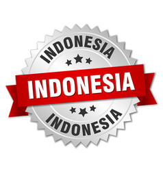 Indonesia round silver badge with red ribbon vector