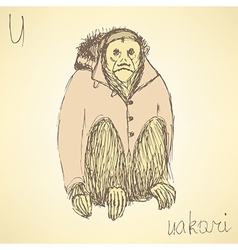 Sketch fancy uakari in vintage style vector