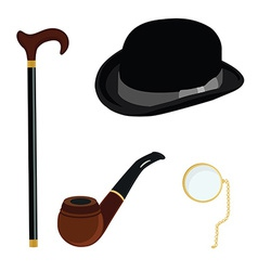 Bowler hat monocle smoking pipe and walking stick vector