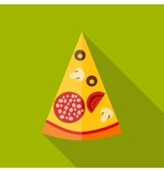 Pizza flat icon with long shadow vector