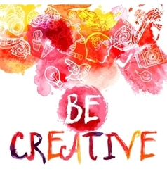 Creativity watercolor concept vector