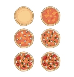 Stages of cooking pizza sketch for your design vector