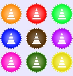 Road cone icon a set of nine different colored vector