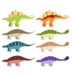 Set of armored dinosaurs vector