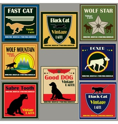 cat and dog vintage label set vector image