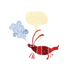 Cartoon shrimp with speech bubble vector