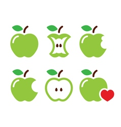 Green apple apple core bitten half icons vector