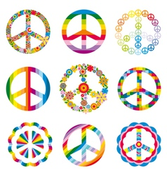 set of abstract peace symbols vector image
