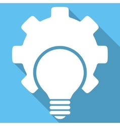 Bulb configuration flat square icon with long vector