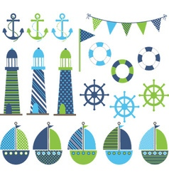 Blue green nautical vector