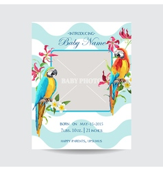 Baby arrival card with photo frame with parrots vector