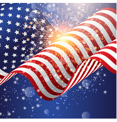 american flag background with firework vector image vector image