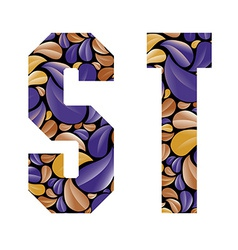 Beautiful floral alphabet letters S and T vector image