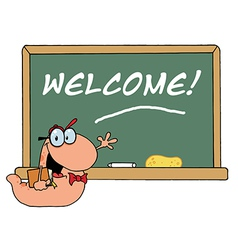 Bookworm by a welcome class room chalkboard vector