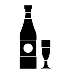 Bottle and glass icon simple style vector